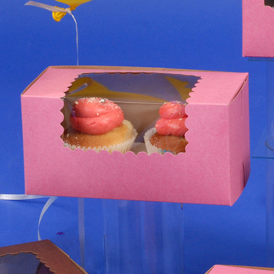 CK Cupcake box w/wind STRW 8x4x4